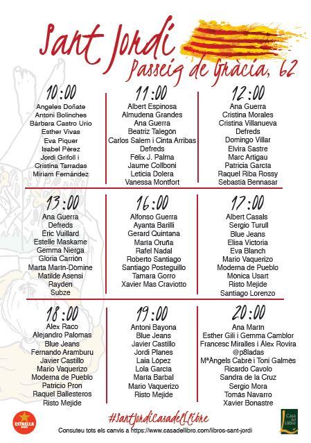 Firmas Sant Jordi Passeig Gracia Casa del llibre