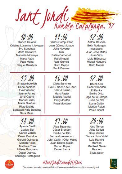 Firmas Sant Jordi Rambla Catalunya Casa del llibre