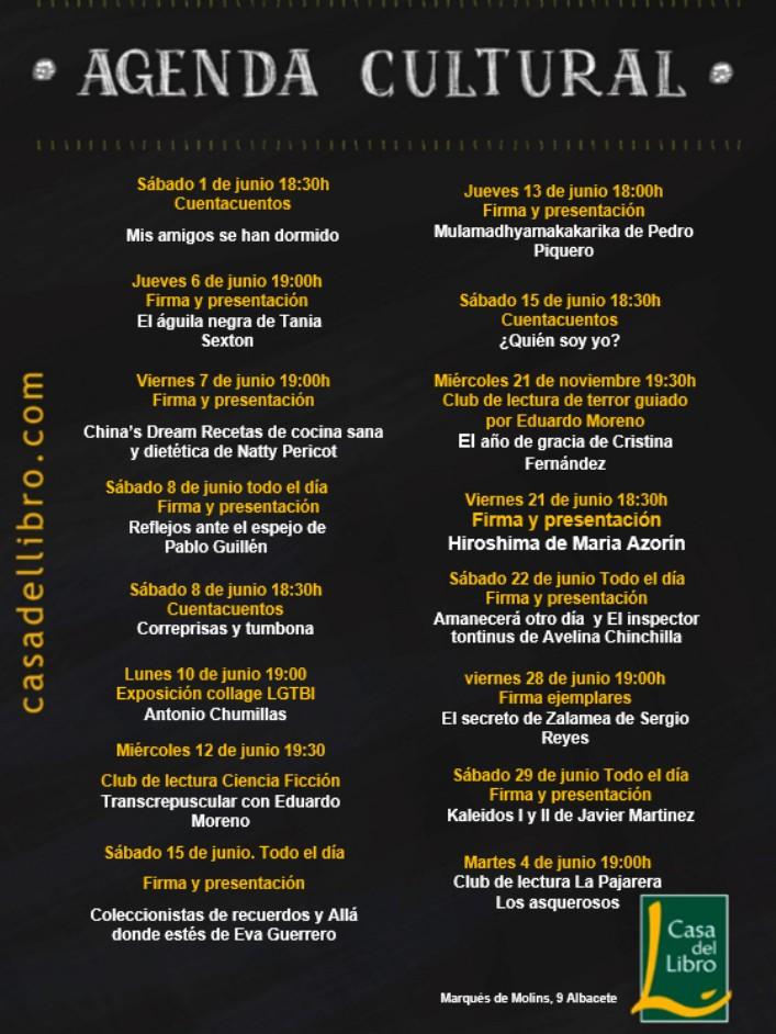 Eventos Casa del Libro Albacete Junio 2019