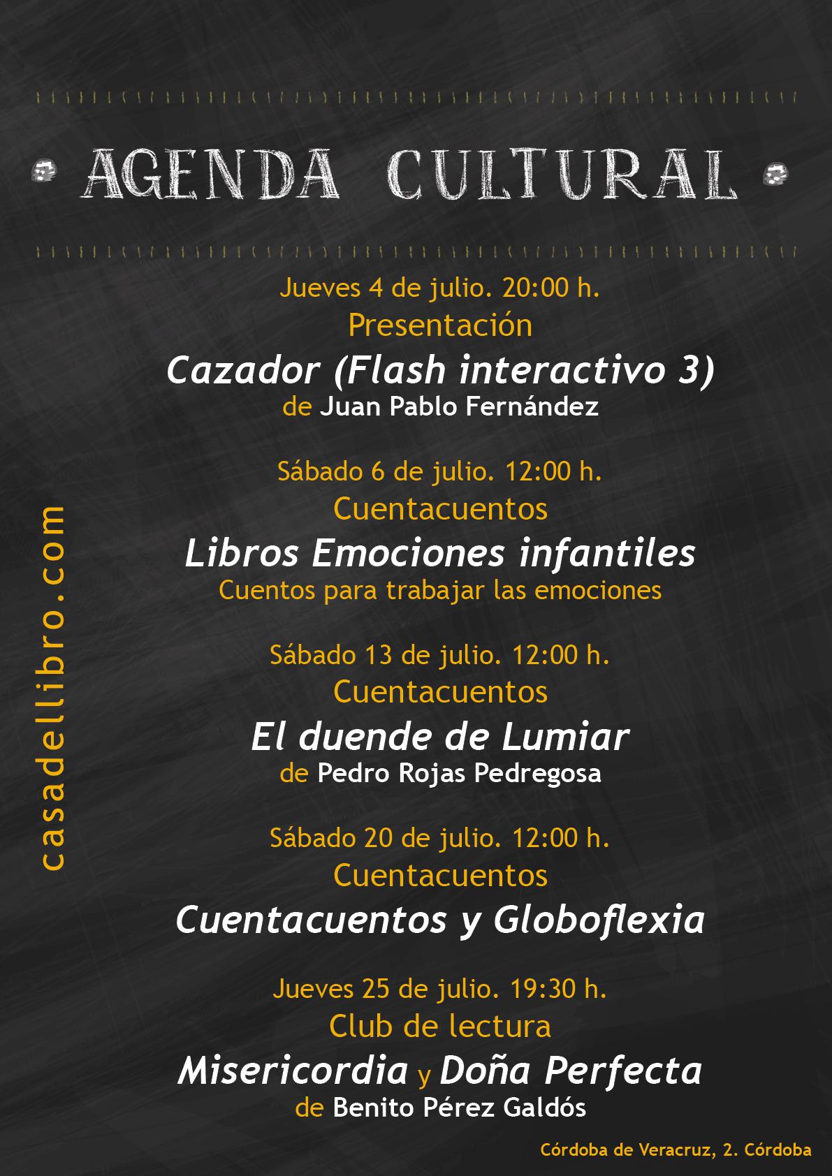 Agenda cultural Librería Córdoba