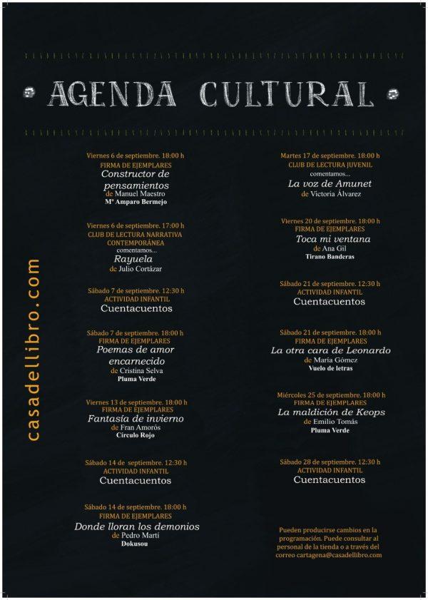 Agenda cultural Sept 19. Casa del Libro Cartagena