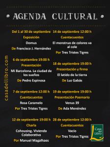 Agenda cultural septiembre Casa del Libro Logroño