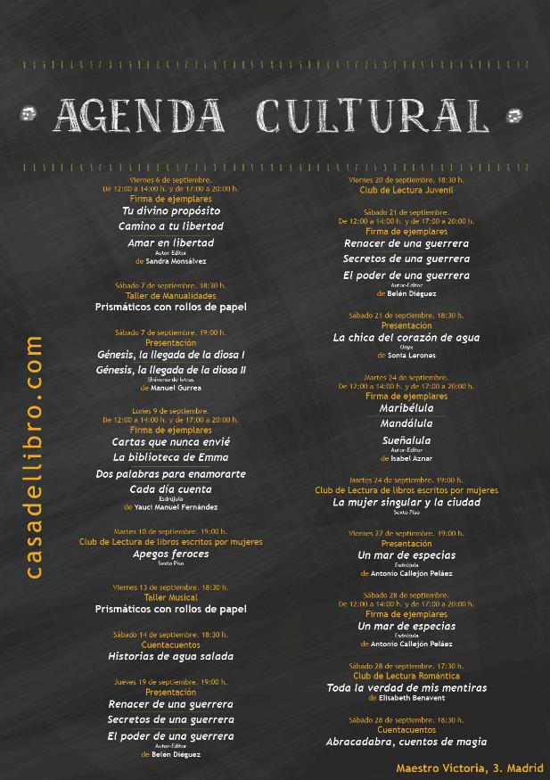Agenda cultural septiembre - Casa del Libro Maestro Victoria