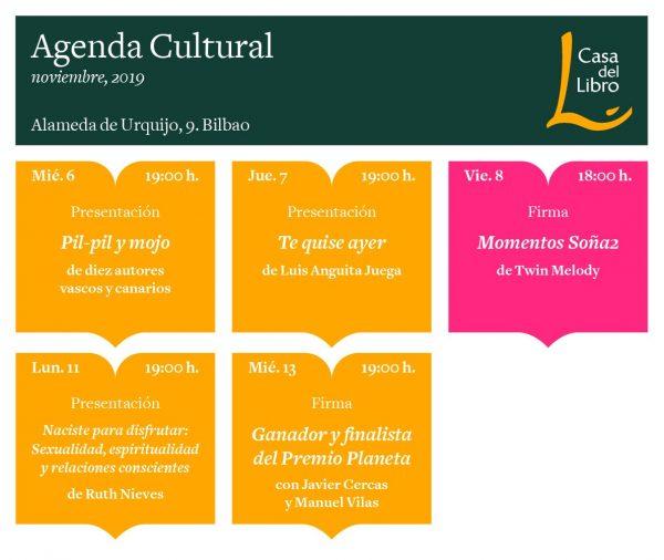 Agenda cultural de noviembre en Casa del Libro Bilbao