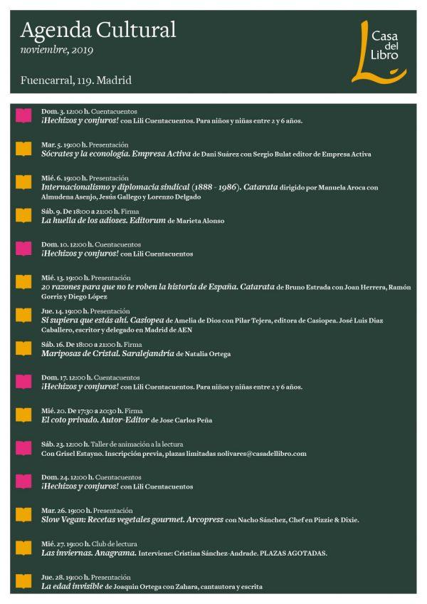 Agenda cultural de noviembre en Casa del Libro Fuencarral