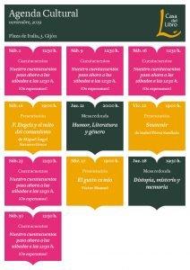 Agenda cultural de noviembre en Casa del Libro Gijón