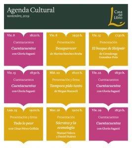 Agenda cultural de noviembre en Casa del Libro Oviedo