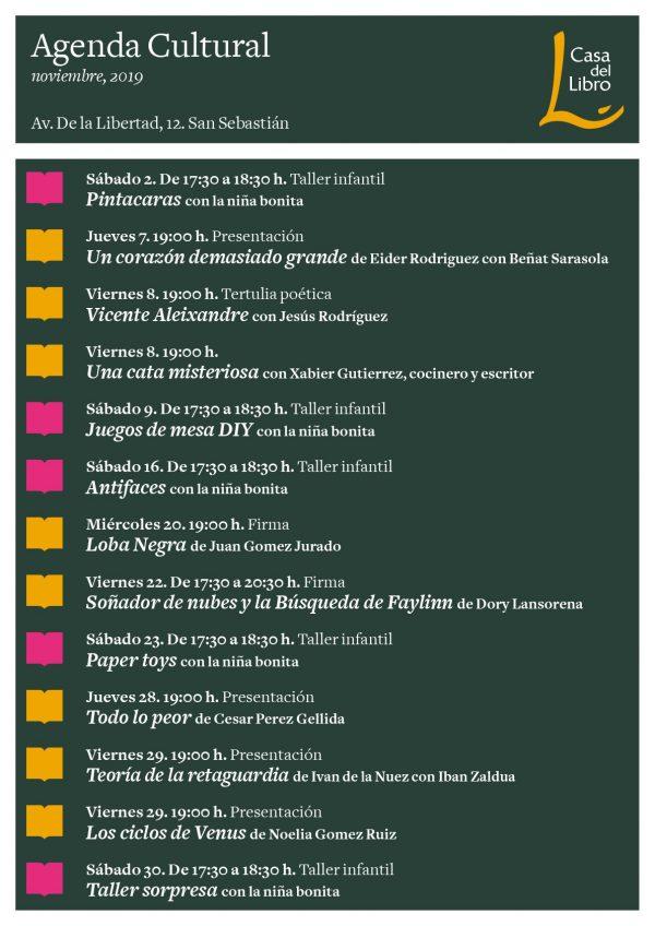Agenda cultural de noviembre en Casa del Libro San Sebastián
