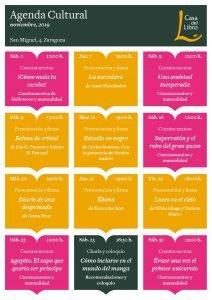 Agenda cultural de noviembre en Casa del Libro Zaragoza